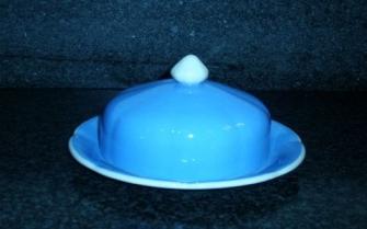 Roomwit met blauw / grijs