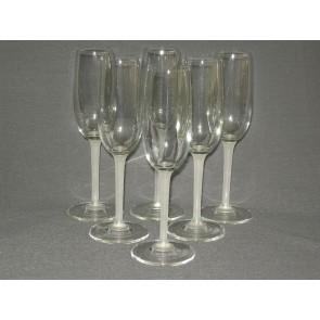gebruikt glas / kristal 003. b 6 champagneglazen met wit been