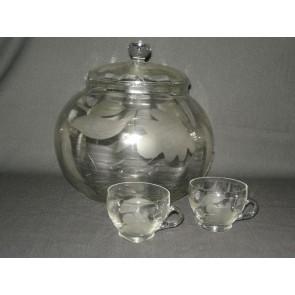 Gebruikt glas / kristal bowlschaal + 2 bijbehorende bowlglazen