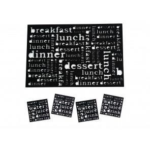 SALT & PEPPER Dine set van 4 placemats + 4 glasonderzetters kleur zwart