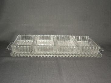 gebruikt glas / kristal presenteerschalen 002. 5-delige presenteerschaal