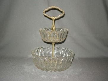 gebruikt glas / kristal presenteerschalen 004. etagère met 2 diepere schalen