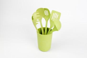 YONG Bamboe keukengerei set 6 delig kleur groen