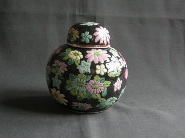 009. gemberpot zwart - bloemen