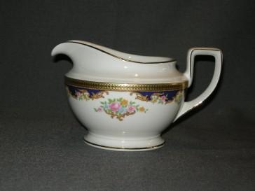 Tirschenreuth wit met goud / donkerblauw / bloem decor sauskom