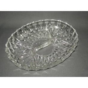 gebruikt glas / kristal presenteerschalen 001. 4-vak schaal