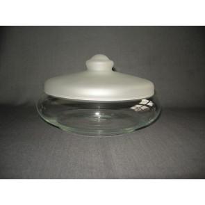 gebruikt glas / kristal dekselschalen 001. Leerdam koekjesschaal