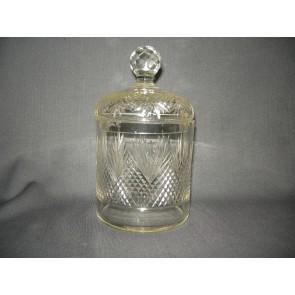 gebruikt glas / kristal dekselschalen 004. Waaierkristal (sigaren) pot