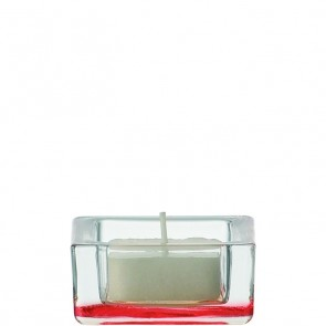 LEONARDO Quad theelichthouder blank / rood doorsnee 6 cm hoogte 3 cm