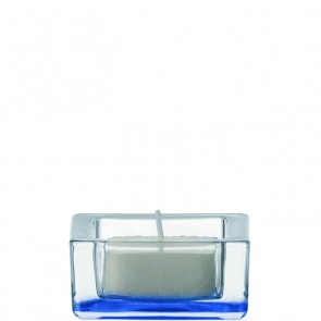 LEONARDO Quad theelichthouder blank / blauw doorsnee 6 cm hoogte 3 cm