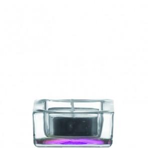 LEONARDO Quad theelichthouder blank / paars doorsnee 6 cm hoogte 3 cm