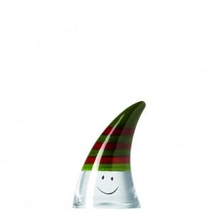 LEONARDO Stardust rood/groene kerstmuts hoogte 8 cm