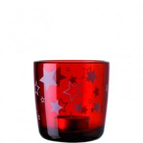 LEONARDO Stardust theelichthouder met sterrendecoratie kleur rood