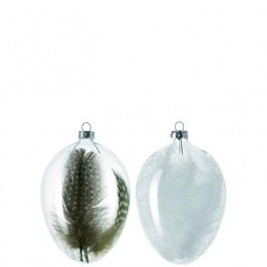 Leonardo Country Love glazen ei met witte veren klein