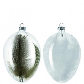 Leonardo Country Love glazen ei met witte veren groot