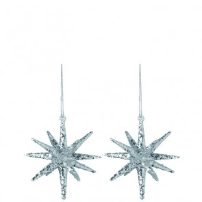 LEONARDO set van 2 zilver-glitter glazen sterren