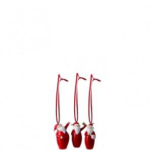 LEONARDO Klaus set van 3 hangende kerstmannetjes hoogte 6 cm