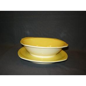 Societe Ceramique geel fruittes met bijbehorend onderbord