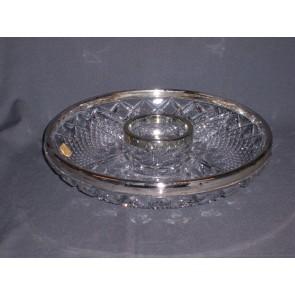 Gebruikt glas - kristal presenteerschaal / vakschaal met verzilverde rand
