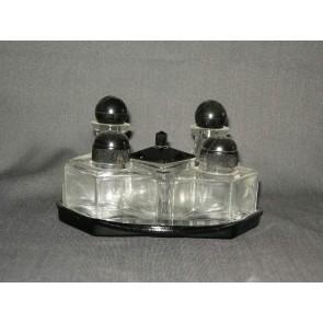 Gebruikt glas / kristal peper-zout-mosterd-olie-azijn set