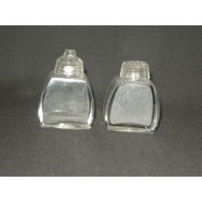 Gebruikt glas / kristal peper- en zoutvaatjes