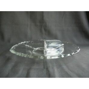 Gebruikt glas - kristal 3-vakschaal O26,5 cm.