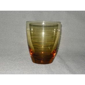 gekleurd glas 8. beker, doorsnee 8,2 cm., okergeel