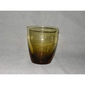 gekleurd glas 9. beker, doorsnee 8 cm., okergeel