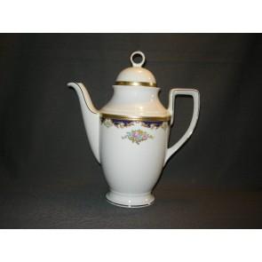 Tirschenreuth wit met goud / donkerblauw / bloem decor koffiepot