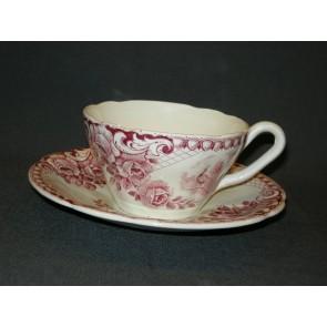 Societe Ceramique Peacock rood kop & schotel