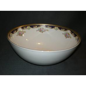 Tirschenreuth wit met goud / donkerblauw / bloem decor saladeschaal O23 cm.
