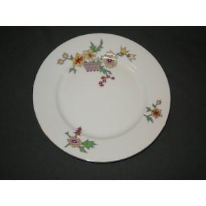 MZ spierwit met lila / geel bloemdecor ontbijtbord