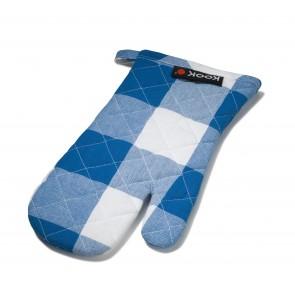 KOOK ovenwant ruit blauw / wit