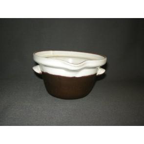 Zaalberg donkerbruin / wit gespikkeld sauskom zonder deksel
