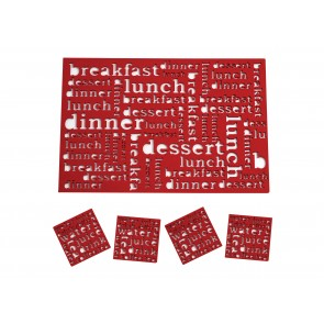 SALT & PEPPER Dine set van 4 placemats + 4 glasonderzetters kleur rood