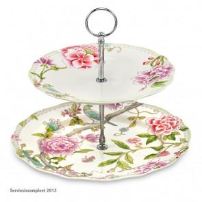 PORTMEIRION Porcelain Garden etagere 2 borden doorsnee 27 en 21 cm